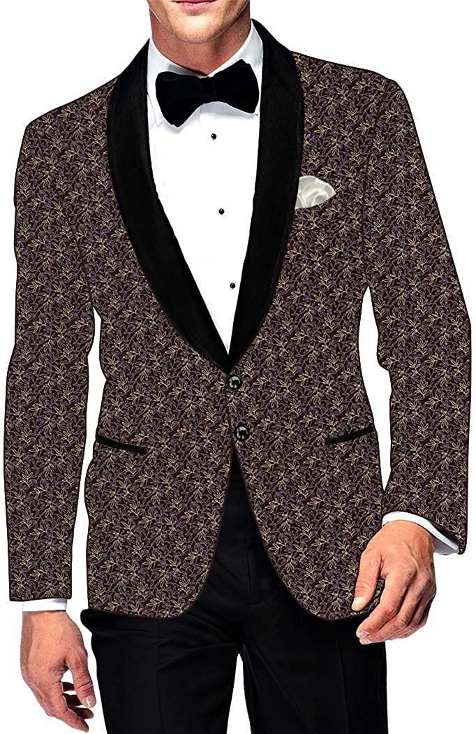 INMONARCH Mens Slim fit Casual Brown Printed Cotton Blazer Sport Jacket Coat Sport Jacket SB15969