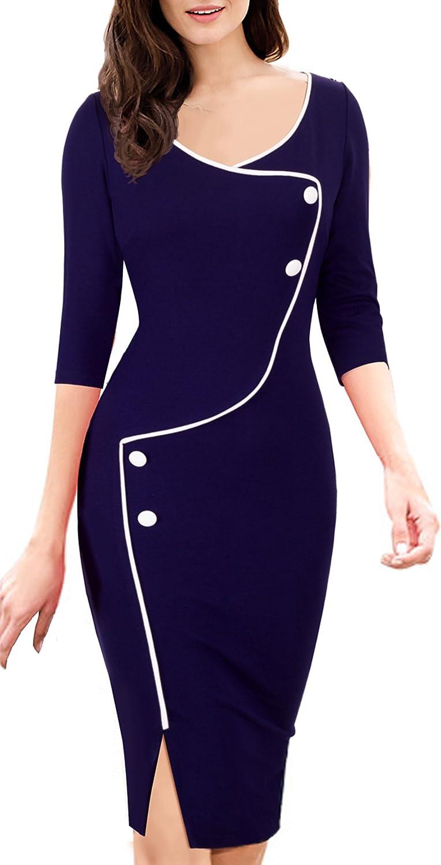 HOMEYEE Womens Elegant Dark Blue Button Sleeve Slim Evening Party Buiness Bodycon Dress B329