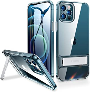 TORRAS MoonClimber Designed for iPhone 12 Pro Max Case [5X Military Armor-Level Shockproof][Three Stand Ways] Protective Slim Hard Clear Phone Cover Case with Sturdy Metal Kickstand 6.7''-Transparent