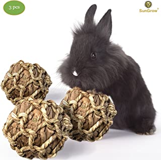 SunGrow Banana Leaf Balls, Chew Toy to Trim Their Teeth, Improve Dental Health, Keep Bunny, Guinea Pig, Kitten Healthy, Happy, and Away from Boredom