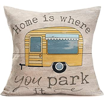"""Tlovudori Vintage Campers Pattern Farmhouse Decor Throw Pillow Covers Cotton Linen Pillow Case Cartoon Travel RV with Motivetion Quote Cushion Cover for Man Woman Couch Bed 18""""x18"""" (Vintage Camper)"""