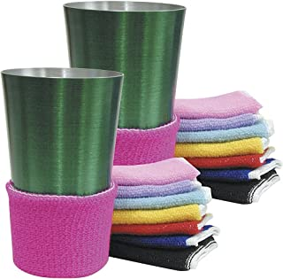 Terry Assorted Colors Beverage Drink Covers - Non Slip (Set of 16)