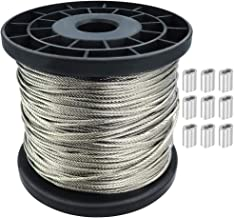 1/16 Wire Rope 304 Stainless Steel Wire Cable 328FT Aircraft Cable, 7x7 Strand Core, 368 lbs Breaking Strength Ideal for G...