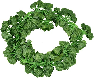 Bunch of 24 Artificial Grape Vine Leaves Garland Plant Vine Hanging Wedding Wreath Fake Bougainvillea Home Kitchen Garden Office Wedding Wall Decoration