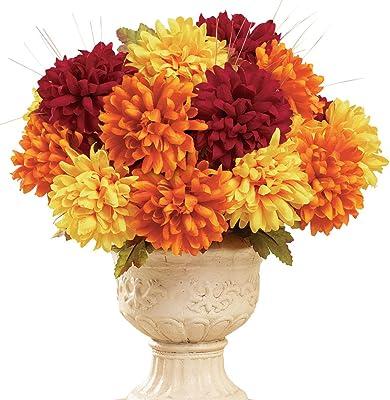 Collections Etc Autumn Multicolored Faux Mum Bushes - Set of 3