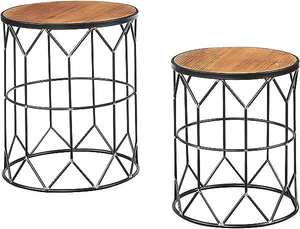 Convenience Concepts 413022 Sarasota Nesting End Table Wood Top Black Frame