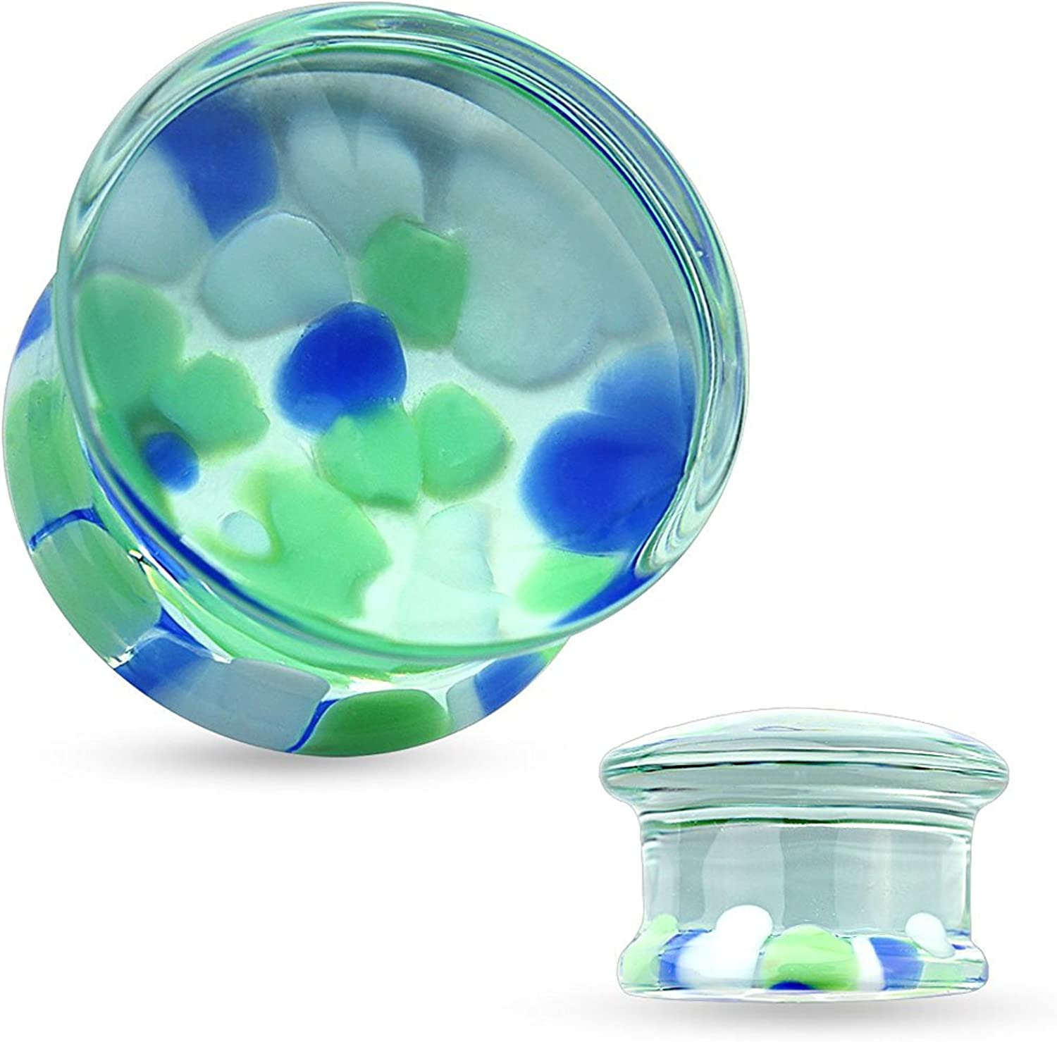 Covet Jewelry Multicolor Pebble Pyrex Glass Double Flared Plugs