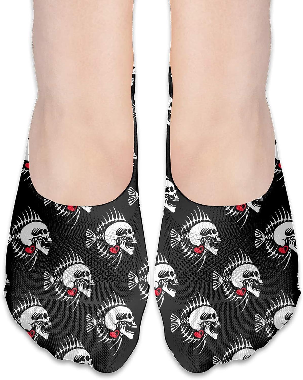 Fish Skeleton With A Human Skull Comfortable Boat Socks-Sweat Wicking Non-Slip Socks Leisure Sports Deodorant Foot Socks