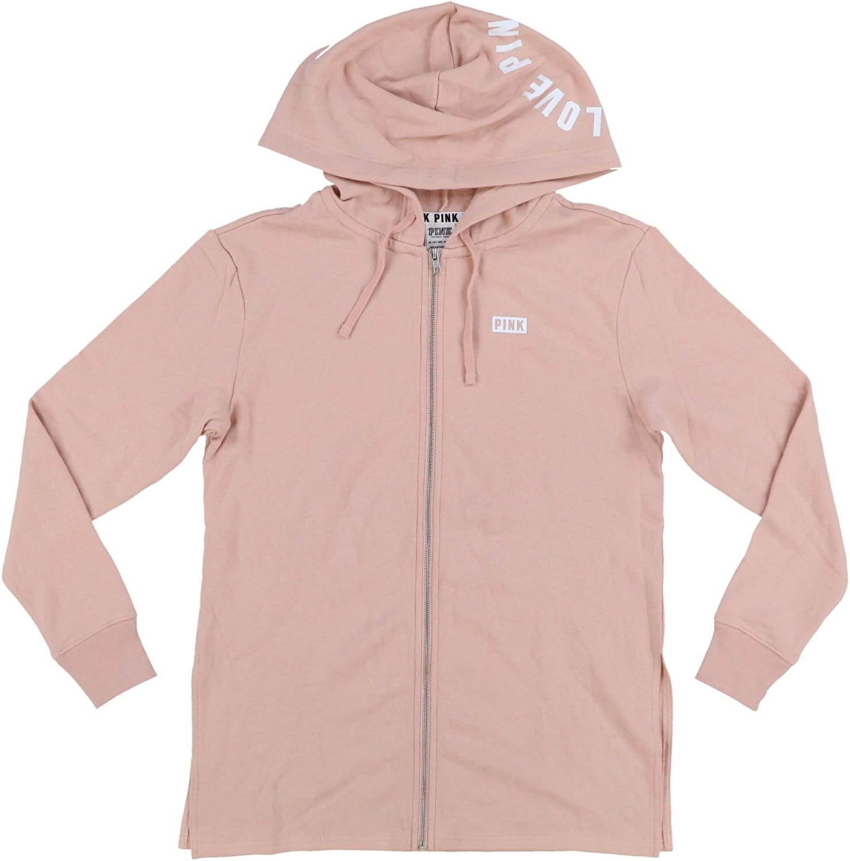 Victoria's Secret Pink Full Zip Up Side Slit Hoodie Sweatshirt