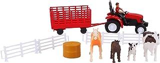 Juego de Animales y Accesorios Newray Farm con Tractor Rojo, Caballos, Vacas y pacas - Edad 3+