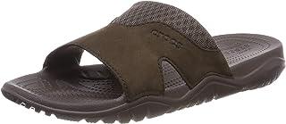 Crocs Men's Swiftwater Leather Slide Open Toe Sandals