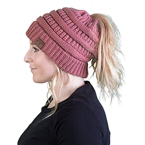 be92752d0298f Funky Junque Ponytail Messy Bun BeanieTail Women s Beanie Solid Ribbed Hat  Cap