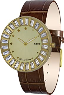 Moog Paris Sunshine Women's Watch with Champagne/White/Silver/Black Dial, Interchangable White/Brown/Silver/Black/Strap in Genuine Leather