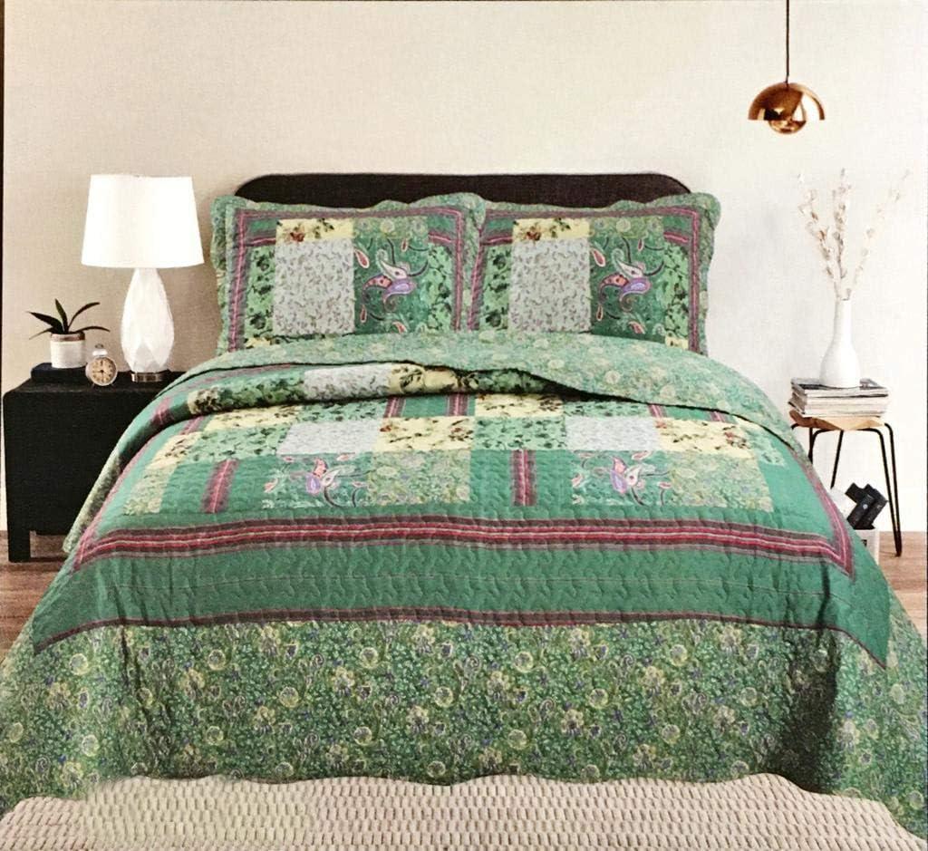 Juego de colcha de 3 piezas con estampado de patchwork y 2 fundas de almohada VSK estampado de flores, doble//King