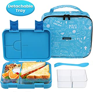 Bento Box for kids Godmron Bento Lunch box School Lunch Container for Girls Boys with Insulated Bag Spoon Fork, Leak-proof, BPA-Free, 4/6 Compartments with Removable Tray for Meal Portion Control