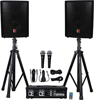 "Rockville Package PA System Mixer/Amp+10"" Speakers+Stands+Mics+Bluetooth, (RPG2X10)"