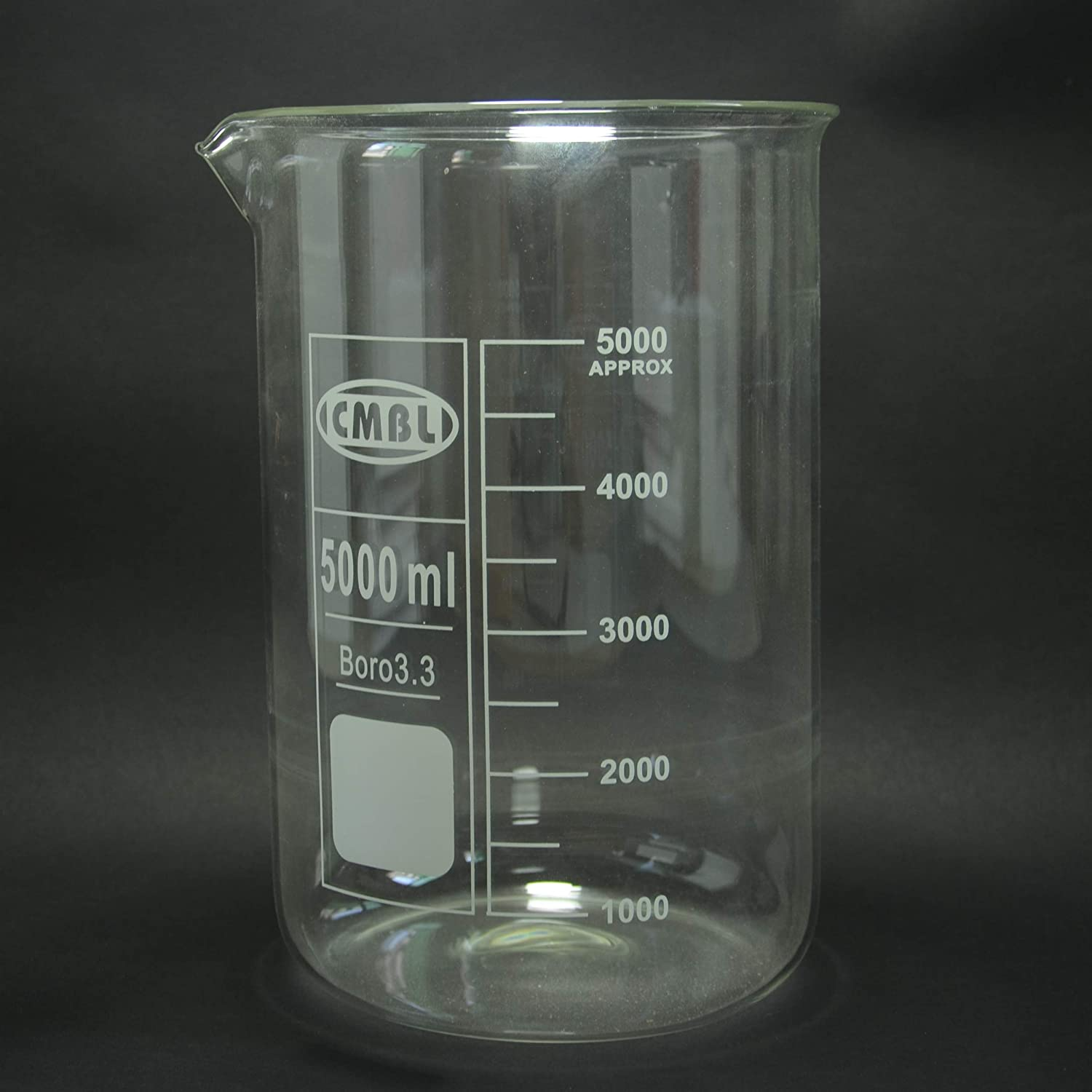 5000mL Glass Outstanding Beaker 5L Low Max 59% OFF with Borosilicate3.3 Mouth Spout Form
