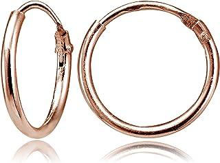 روز الذهب فلاش الفضة الاسترليني صغيرة مصغرة لا نهاية لها 10 ملم رقيقة جولة للجنسين هوب أقراط للرجال النساء