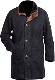 FHZ Services Longmire Sheriff Walt Robert Taylor Black Suede Leather Long Pea Coat for Men's
