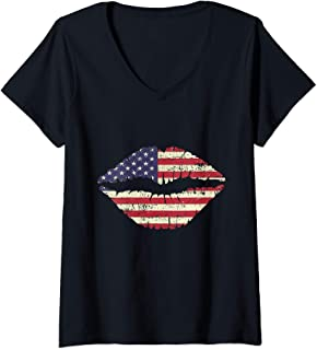 Womens American Flag lips T-Shirt Patriotic Flag for 4th Of July V-Neck T-Shirt