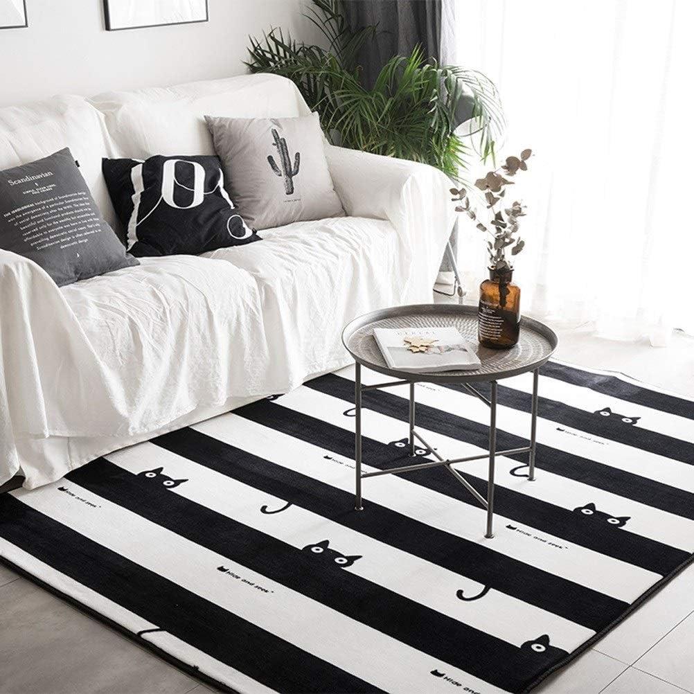 Zebra Stripe Moderne De Mode Grand Tapis for Salon Tapis De Chambre Chambre Antid/érapant G/éom/étrique Carr/é /À Carreaux Blanc Noir Alfombra ID Color : A-150x190cm