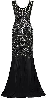 Vijiv Womens 1920s Inspired Cap Sleeve Beaded Sequin Gatsby Long Evening Prom Dress