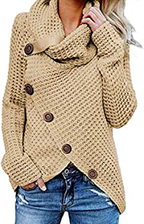 Women's Chunky Turtle Cowl Neck Knit Wrap Asymmetric Hem Sweater Coat with Button Details