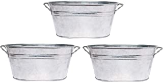 Hosley 3 Pack of Galvanized Oval Planters 8 Inches Long Ideal Gift and Use for Weddings Special Events Parties Outdoor Planters W9 (Renewed)