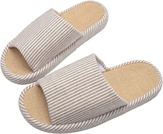 WMZYIQI Women Slippers Soft Open Toe Anti-Slip Indoor Outdoor Stripe Linen Casual Home Shoes