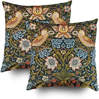 TOMWISH 2 PACKS Hidden Zippered Pillowcase strawberry thieves by william morris vintage art 18X18Inch,Decorative Throw Custom Cotton Pillow Case Cushion Cover for Home