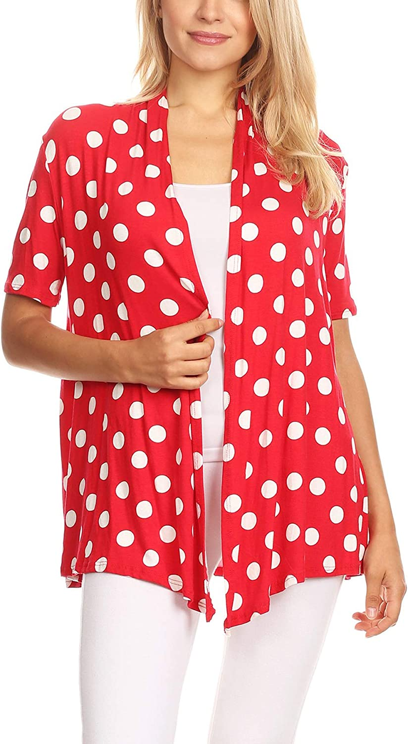 Women's Basic Short Sleeve Open Front Pattern Print Polka Dot Cardigan S-3XL Made in USA