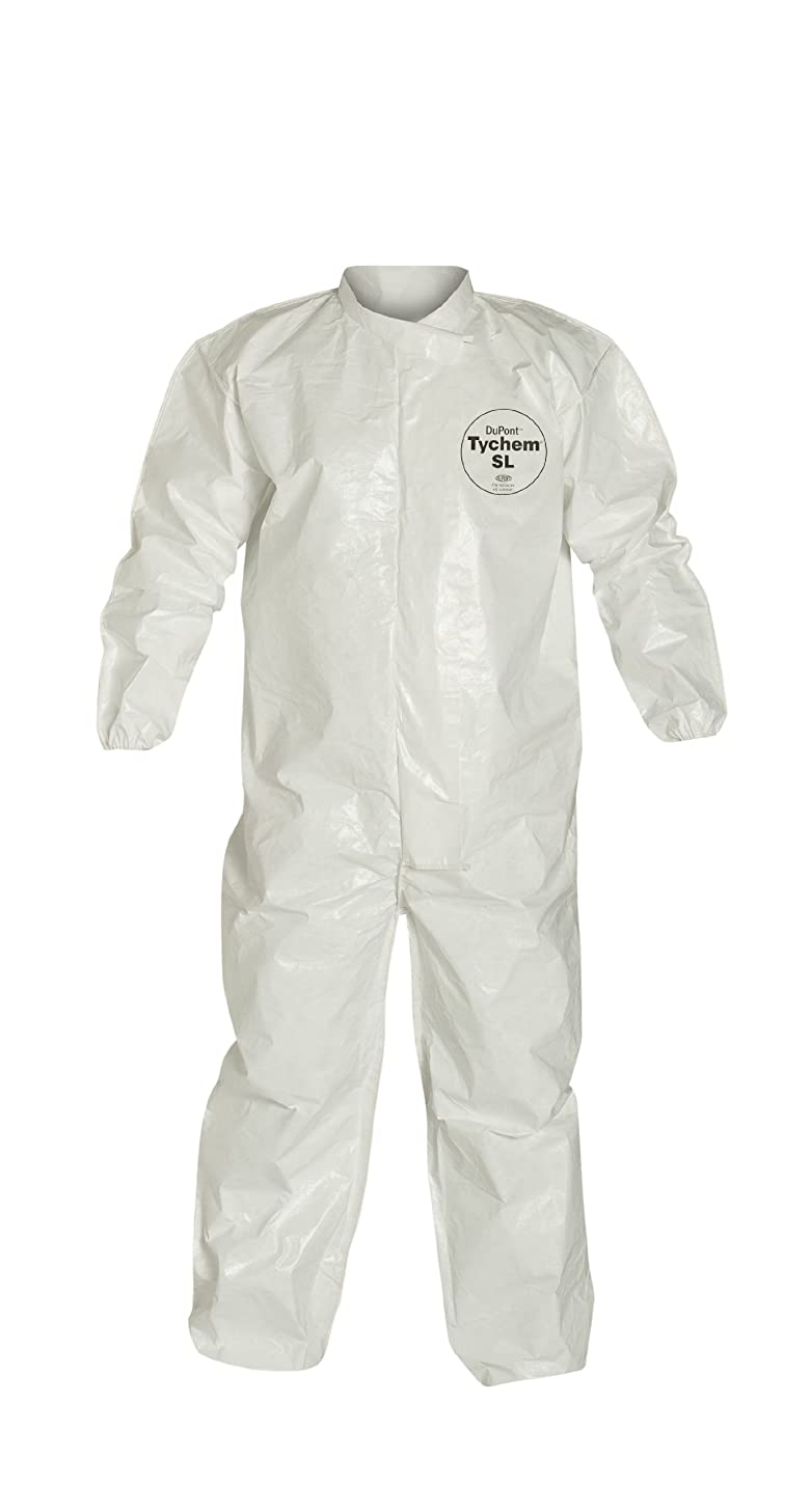 DuPont Tychem 4000 SL125B Disposable Chemical Resistant Coverall with Elastic Cuff and Bound Seams, White, 5X-Large (Pack of 12)