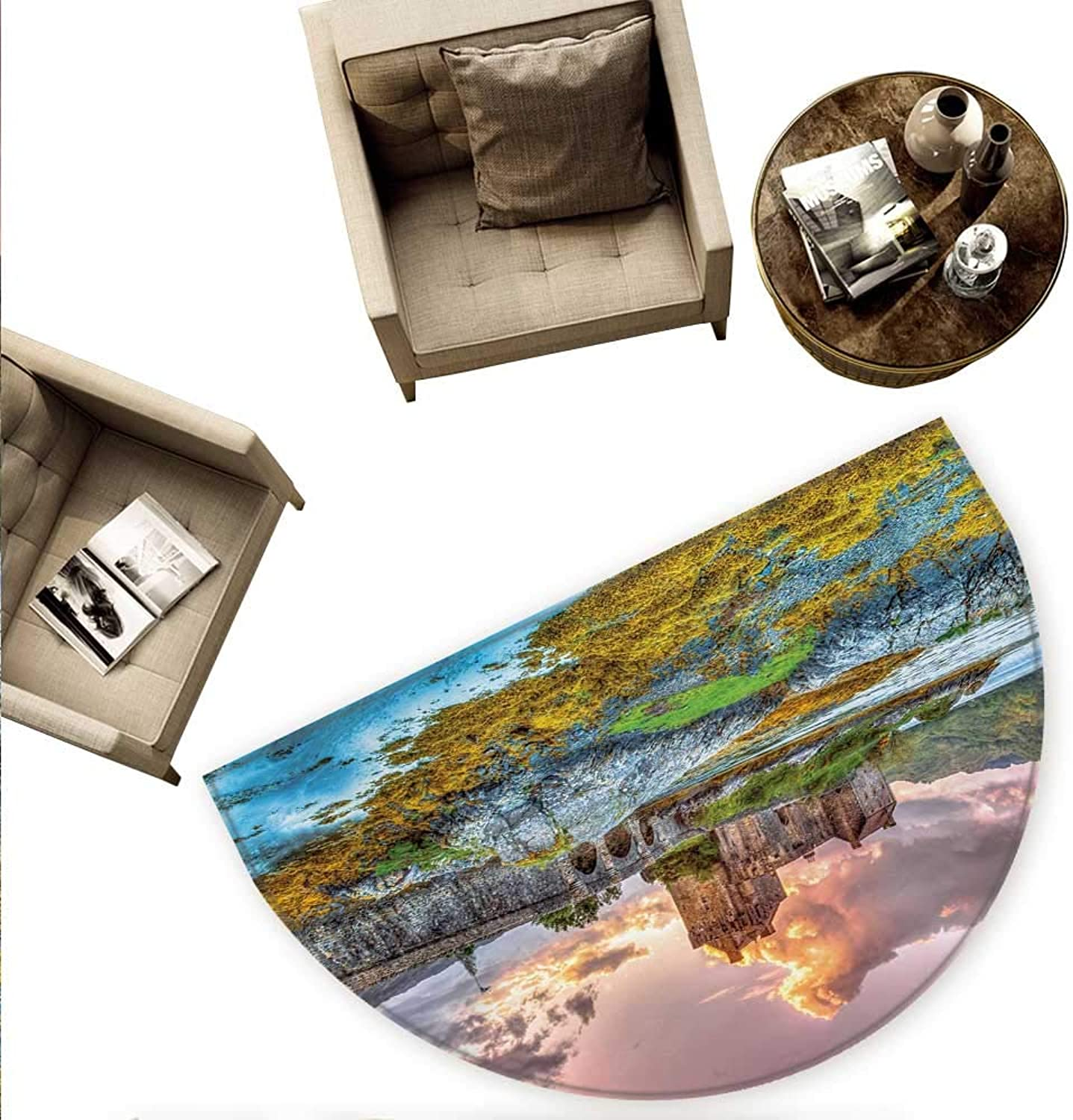 Scenery Semicircular Cushion Dreamy Ancient Times Middle Age Inspired Princess Castle Near Lake Stones Moss Entry Door Mat H 74.8  xD 112.2  Multicolor