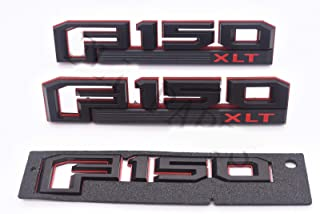 3pcs OEM F150 Xlt Fender Emblem F150 Rear Tailgate Badge 3D Logo Nameplate Replacement for F-150 Red Black Origianl Size Genuine Parts