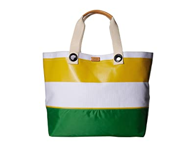Frances Valentine Double Handle Weekend Tote (Yellow/White/Green) Handbags