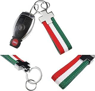 Xotic Tech (1) Euro Italian Flag Stripe Nylon Band w/Inner Leather Key Fob Chain Keychain Ring For Fiat Ferrari Maserati Lamborghini, BMW etc