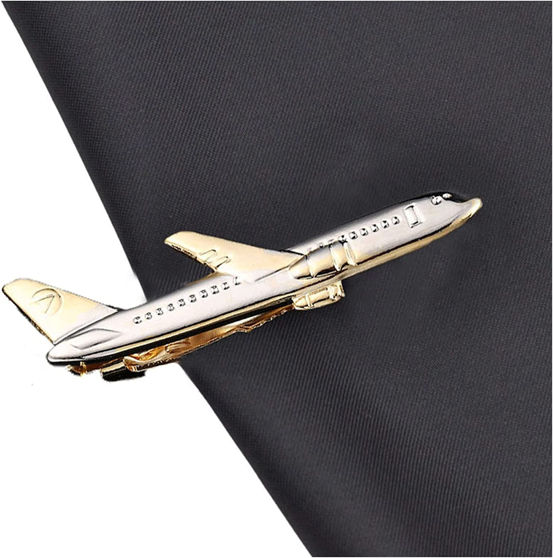 chenfeng Brooch Airplane Shape Men Tie Clip Pilot Business Men Necktie Clip Cufflinks Tie Clasp