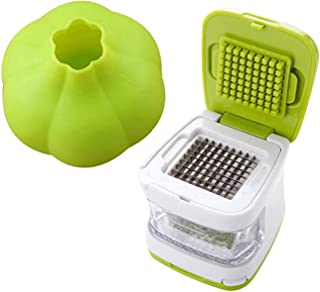 Coralpearl Kitchen Food Aid Garlic Ginger Master Box Plastic Stainless Steel Cube Press Cutter Mincer Chopper Crusher Slicer Grater Grinder Twister Dicer Machine Silicone Peeler Gadget Green Tool Set