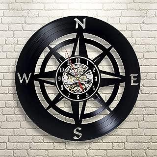 MMSDGZ Vinyl Wall Clock/Artistic Compass Themed Drawing Room Vinyl Wall Clock