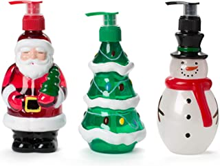 SIMPLE PLEASURES Liquid Hand Soap Holiday Bottles: Tri-Coastal Design Scented Hand Soaps - Sugar Coated Apple, Frosty Delight and Snow Flurries Scents - Novelty Shape Pump Bottle Dispensers, 3 Pack