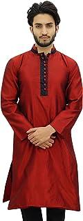Atasi Men's Long Kurta Maroon Dupion Ethnic Bollywood Style Shirt