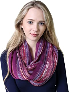 (19 COLORS) Women's Shimmer Sparkle Infinity Scarf, Festival Bliss Lightweight Fashion Shawl