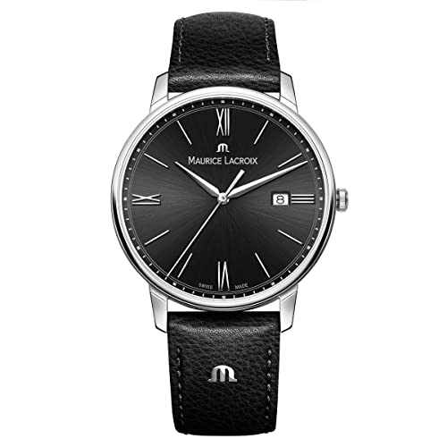 Maurice Lacroix Mens Eliros Stainless Steel Quartz Watch with Leather Calfskin Strap, Black (Model