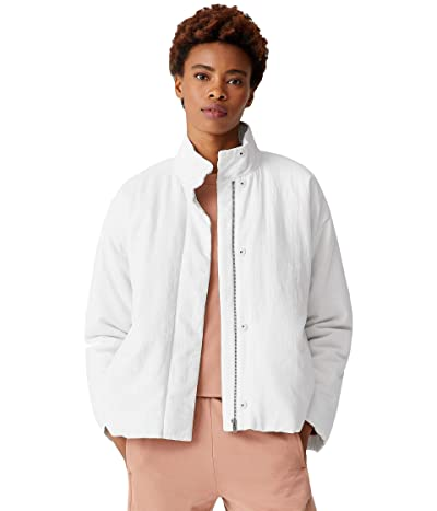 Eileen Fisher Organic Linen Cotton Crepe High Collar Padded Short Coat (White) Women