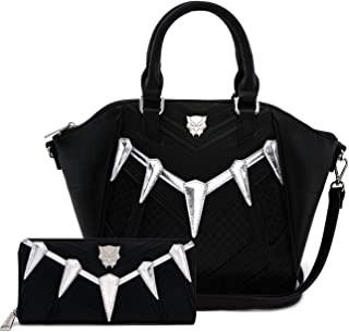 Loungefly Marvel Black Panther Cosplay Cross Body Bag and Wallet Set (Black)