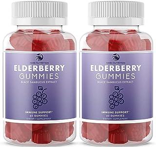 (2 Pack) Nobi Nutrition Elderberry Gummies - Immune Support Booster with Vitamin C, Zinc and Sambucus Black Elderberry Ext...