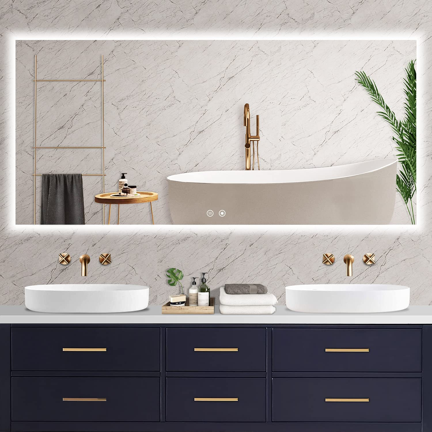 SNHOOR 60x28 Inch Backlit Bathroom Cheap Max 68% OFF super special price with Anti- LED Mirror Lights