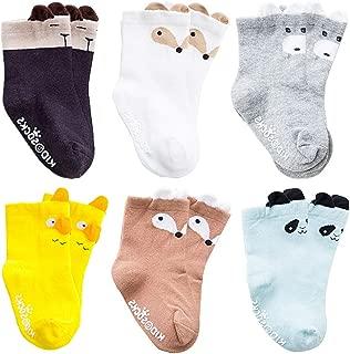 Baby Boy Girl Socks Toddler Animals Non Skid Cotton Crew Socks 6 Pairs 6-36Month
