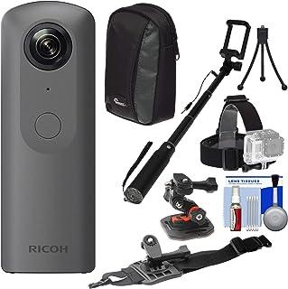 Ricoh Theta V 360度球状4K HDデジタルカメラwithヘルメットマウント+自撮り棒+ケース+ミニ三脚+キット