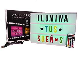 Caja de luz A4 MULTICOLOR con 215 tarjetas.10 láminas por fila. Cartel luminoso vintage para decorar habitacion, negocio, ...